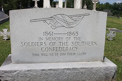 Confederate memorial tombstone at Natchez City Cemetery in Natchez, Mississippi Confederate monument in Natchez, MS, Cemetery IMG 6995.JPG