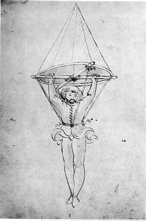 Parachute - The oldest known depiction of a parachute, by an anonymous author (Italy, 1470s).