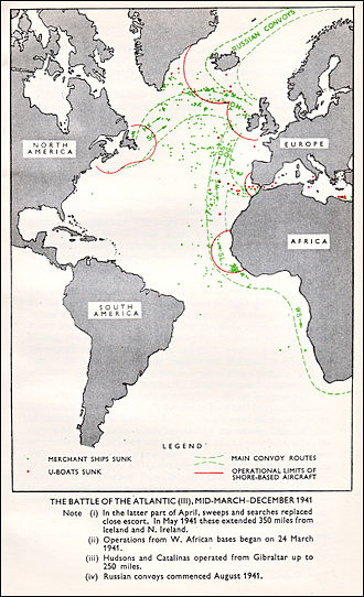 Convoy - Convoy Routes in the Atlantic Ocean during 1941