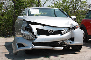 English: Toyota Corolla involved in a head on ...