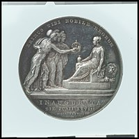 Medal of a queen, seated, being offered a crown by allegorical figures