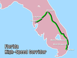 A Florida High Speed Rail útvonala