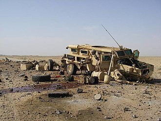 Asymmetric warfare - This Cougar in Al Anbar, Iraq, was hit by a directed charge IED approximately 300–500 lbs in size.