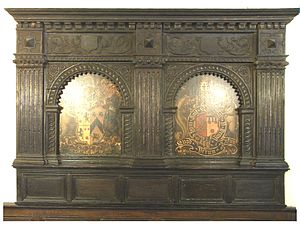 Devon and Exeter Institution - Courtenay heraldic overmantel, circa 1750, in 7 Cathedral Close, Exeter, home of the Devon and Exeter Institution