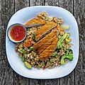 Crispy chicken and rice at Highgate Cricket Club, Crouch End, plan view focus 1.jpg