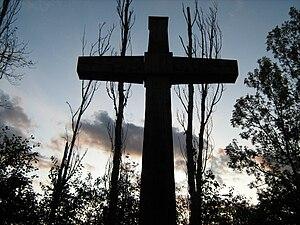 Ahuntsic (missionary) - Cross in honour of Nicolas Viel and Ahuntsic at Parc de l'Île de la Visitation