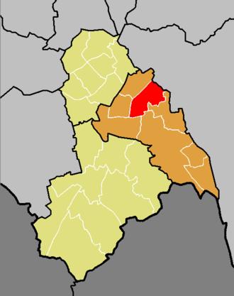 Ashburton (ward) - The ward of Ashburton (red) shown within the Croydon Central constituency (orange) within the London Borough of Croydon (yellow)
