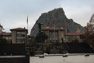 Afyonkarahisar - A view from the Cumhuriyet Square and Utku Monument in Afyonkarahisar