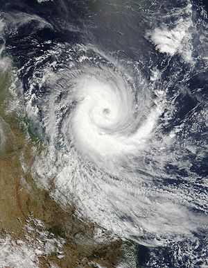Coral Sea - Tropical Cyclone Larry over the Great Barrier Reef, 19 March 2006