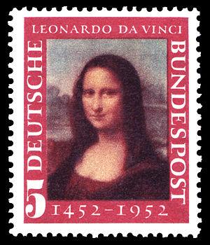 Cultural references to Leonardo da Vinci - West German stamp commemorating Leonardo's 500th birthday