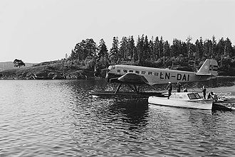 Norwegian Air Lines - A Junkers Ju-52 docked at Oslo Airport, Fornebu in 1939