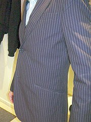 A man wearing a Pinstriped pattern suit
