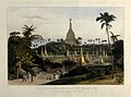 Dagon pagoda, near Rangoon, Burma. Coloured aquatint by Will Wellcome V0050496.jpg