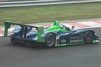 Dallara SP1 - A rear view of the Nissan-powered SP1, which features slightly modified bodywork to include inlet ducts on the rear fenders for the turbochargers.