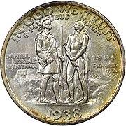 Daniel boone bicentennial half dollar commemorative reverse