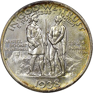 Daniel Boone Bicentennial half dollar - Reverse