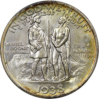 The Daniel Boone Bicentennial half dollar is a U.S. commemorative coin issued from 1934 to 1938 in honor of the bicentennial of Boone's birth Daniel boone bicentennial half dollar commemorative reverse.jpg