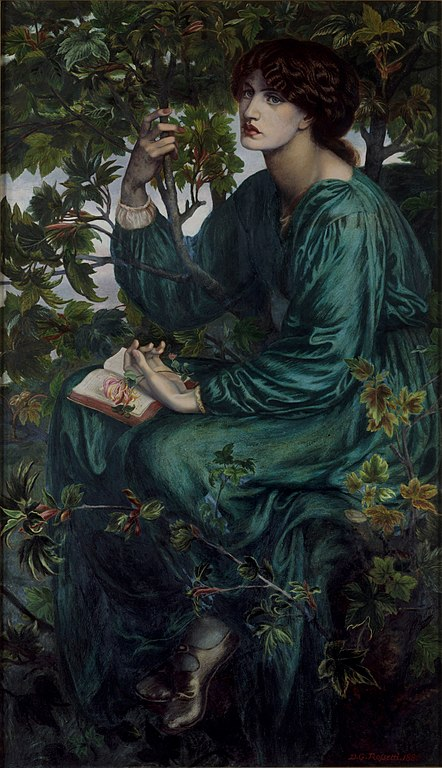 Toile du Préraphaélite Dante Gabriel Rossetti au musée d'arts appliqués de Londres.
