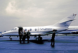 Dassault Falcon 10 - Corporate Falcon 10 on arrival at Paris from Manchester via Birmingham