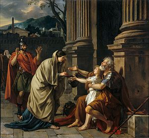 Belisarius - Belisarius Begging for Alms, as depicted in popular legend, in the painting by Jacques-Louis David (1781)