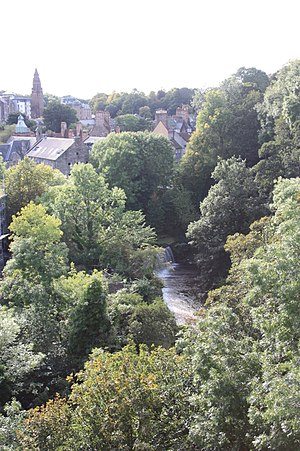 Dean Village - Dean Village as seen from Dean Bridge over the Water of Leith