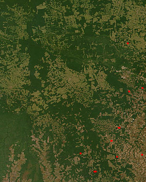 English: Satellite observation of deforestatio...
