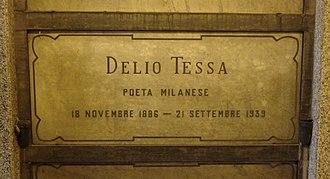 Delio Tessa - Tessa's grave at the Monumental Cemetery of Milan, Italy