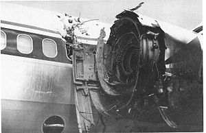 Turbine engine failure - The engine of Delta Air Lines Flight 1288 after it experienced catastrophic uncontained compressor rotor failure in 1996.