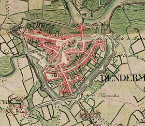 Dendermonde - Dendermonde on the Ferraris map (around 1775)