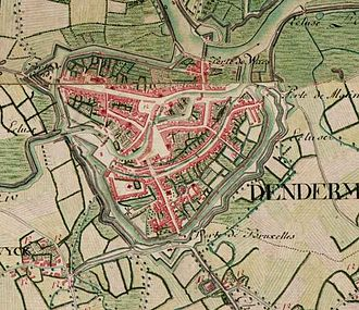 Dendermonde - Dendermonde on the Ferraris map (around 1775)