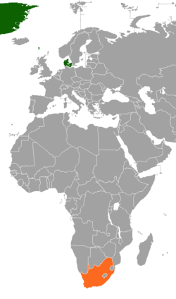 Map indicating locations of Denmark and South Africa
