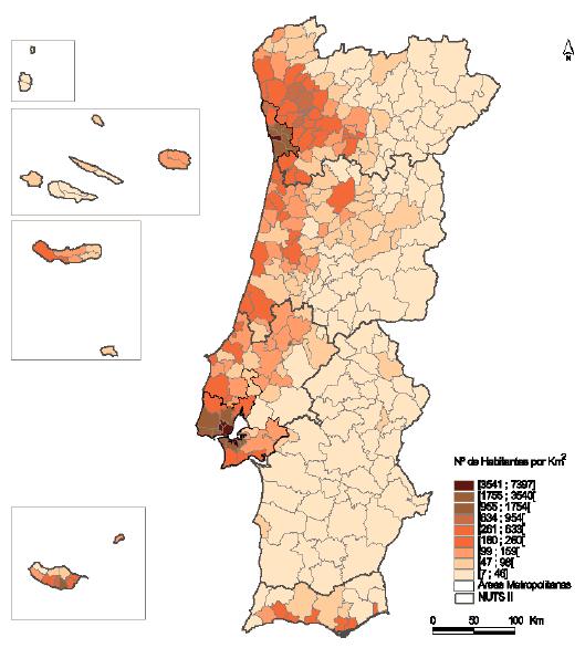 Densidade populacional por concelho - INE 2001