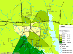Map diagram showing median family income levels. Southern area has a median family income of $91,630&emdash;106,016 range. Northern area has a range of $65,517&emdash;75,261. Downtown area has the lowest range at $23,828–41,453.