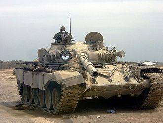Battle of Baghdad (2003) - A T-72 Asad Babil abandoned after facing the final US thrust into Baghdad