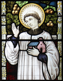 Detail of St Tyrnog from window at Llandyrnog church.png