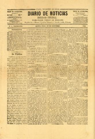 Diário de Notícias - First issue of the Diário de Notícias (29 December 1864).