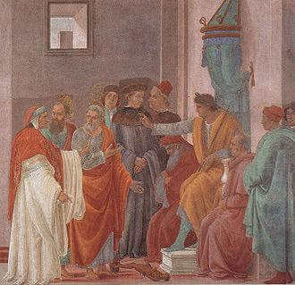 Simon Magus - The Apostles Paul and Peter confront Simon Magus before Nero, as painted by Filippino Lippi.
