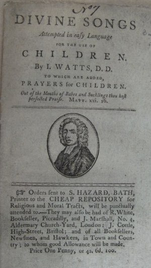 Cheap Repository Tracts - Divine Songs ... for children - the seventh Cheap Repository Tract to be issued, printed at Bath by Samuel Hazard in March 1795