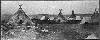 Indigenous peoples of the Subarctic - Tłı̨chǫ camp on the shore of Slave Lake at Fort Resolution, Northwest Territory, 1907