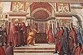 Domenico Ghirlandaio und Werkstatt, Verkündigung an Zacharias, 1486–1490, Fresko, rechte Kapellenseite, Tornabuoni-Kapelle, Santa Maria Novella, Florenz.jpg