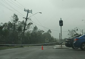 2011 in Australia - Downed power pole and lines in Townsville, Queensland