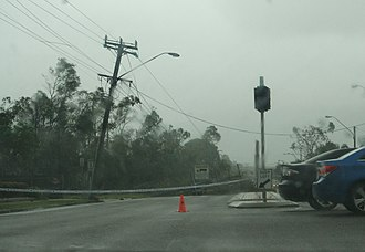 Cyclone Yasi - Downed power pole and lines on Kings Road in Townsville
