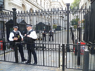 Downing Street mortar attack - The security gates installed in 1989 as a result of the IRA's bombing campaign in England