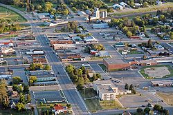 Aerial photo of downtown Bagley