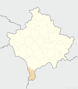 Location of the municipality of Dragaš within Kosovo