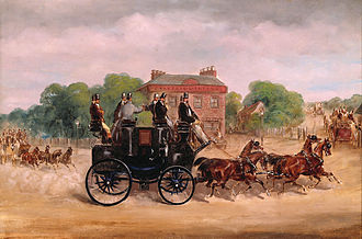 Hooper (coachbuilder) - Drags of the Four-in-Hand Club Mr Holroyd, Lord Lonsdale and the Duke of Sutherland (sharing driving) on the box of the drag in the foreground