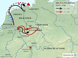 Map of the Drusus campaigns in 12 and 11 BC  Chr.