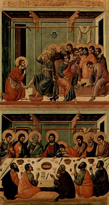 The Washing of Feet and the Supper, from the Maesta by Duccio, 1308-1311. Peter often displays amazement in feet washing depictions, as in John 13:8. Duccio di Buoninsegna 029.jpg