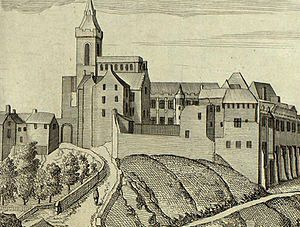 Robert Henryson - Dunfermline Abbey from a 17th century engraving which gives a more complete impression of the original building complex than survives today.