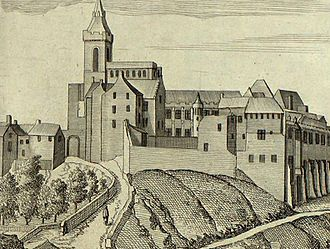 Robert Henryson - Dunfermline Abbey from a 17th-century engraving which gives a more complete impression of the original building complex than survives today.